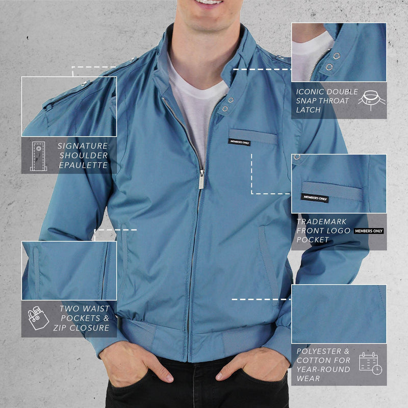 Members Only Slate Classic Iconic Racer Jacket