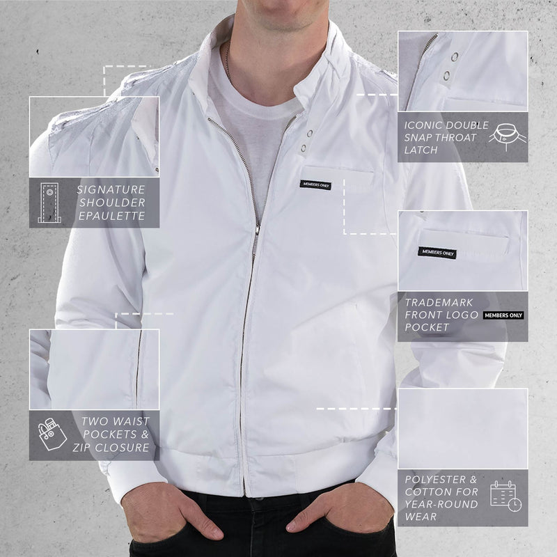 Members Only White Original Iconic Racer Jacket