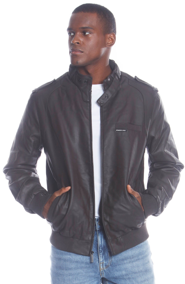Buy Mens Faux Leather Iconic Racer Jacket