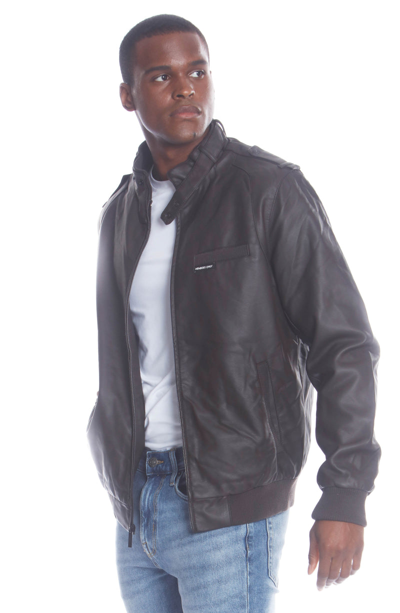 Men's Faux Leather Iconic Racer Jacket (SLIM FIT) Unisex Members Only