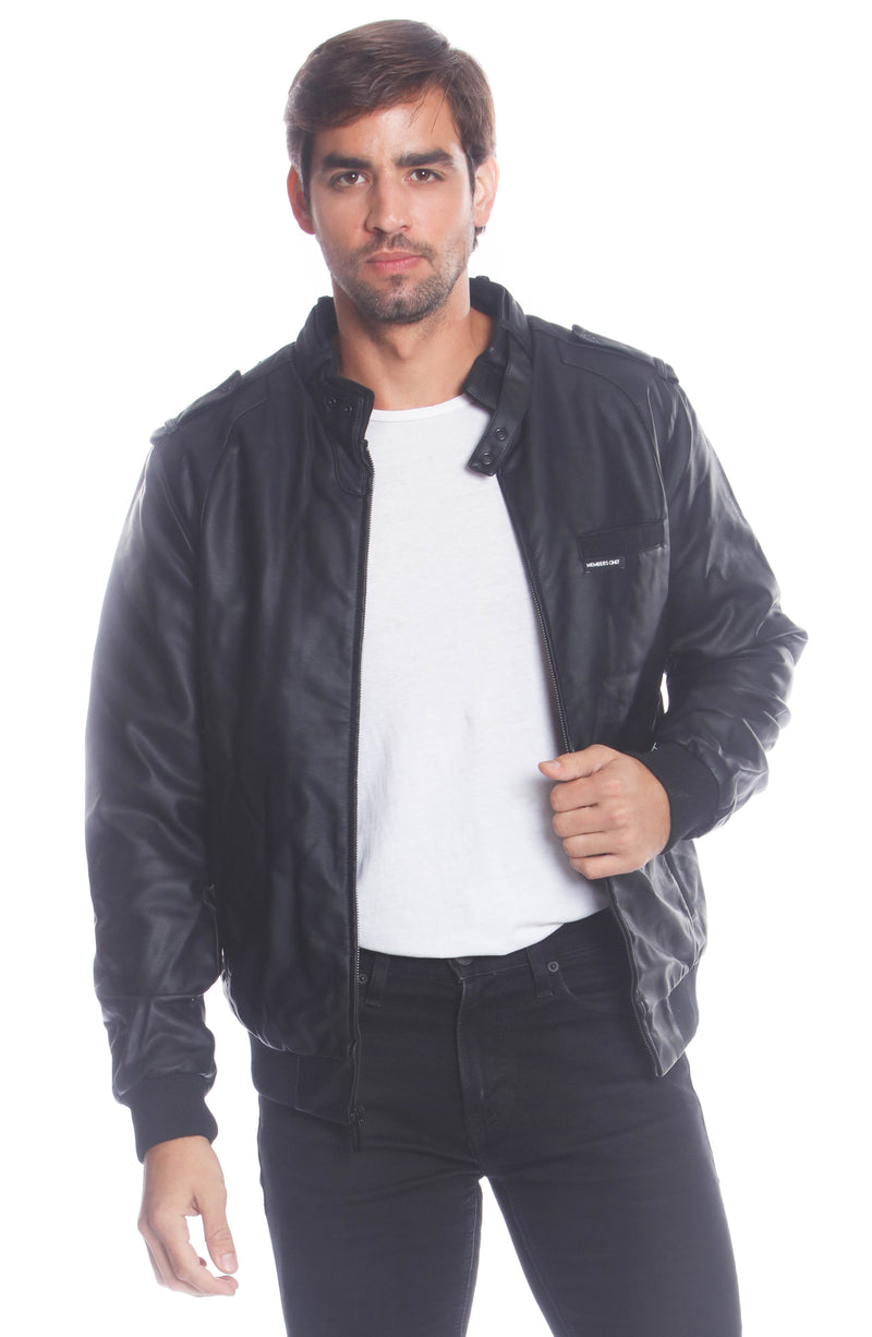 Men's Faux Leather Iconic Racer Jacket (SLIM FIT) Unisex Members Only Black X-Large