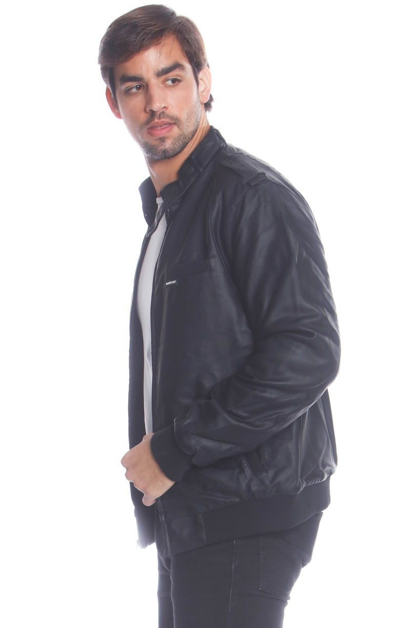 Shop Mens Faux Leather Iconic Racer Jacket