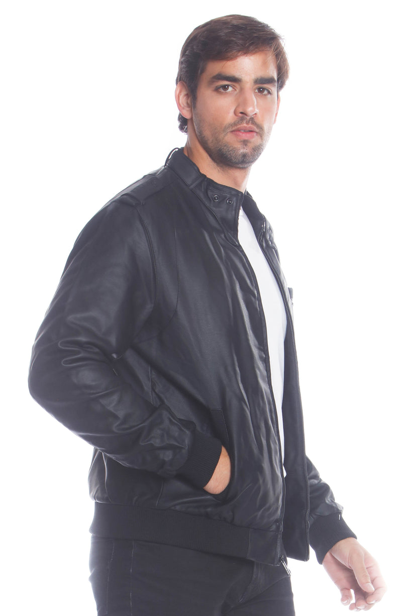 Buy Mens Faux Leather Iconic Racer Jacket Online