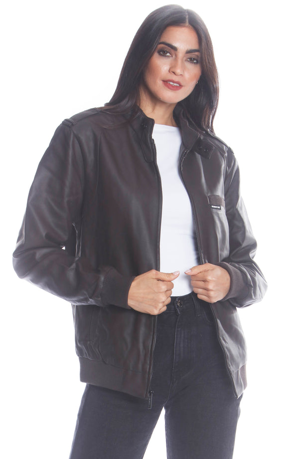 Men's Faux Leather Iconic Racer Jacket (SLIM FIT) for Women Unisex Members Only Dark Brown Small
