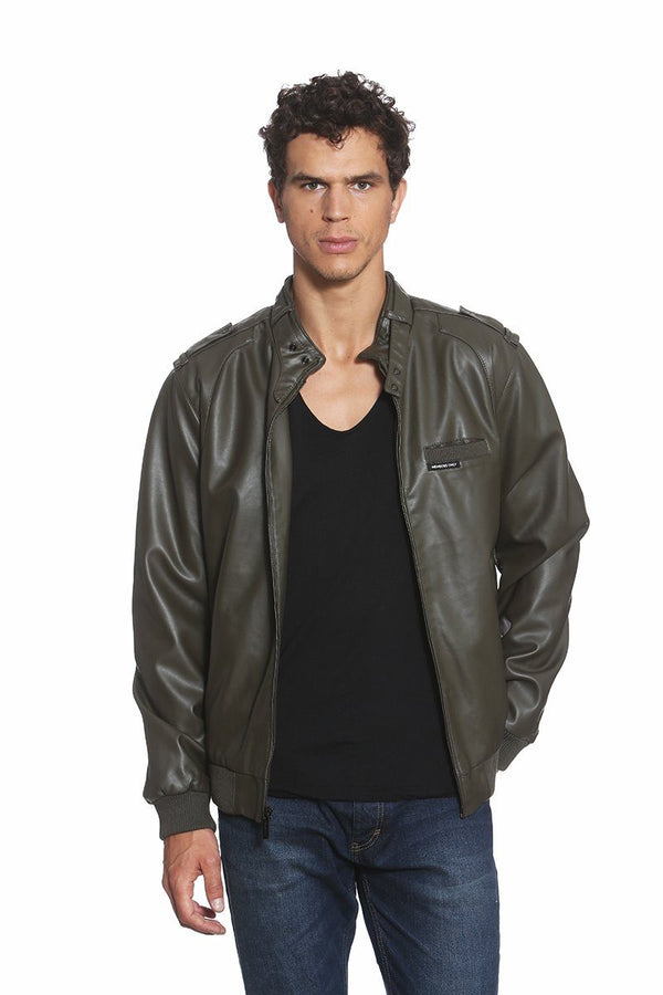 Clearance - Men's Faux Leather Iconic Racer Jacket (SLIM FIT) Members Only® Official Olive Small
