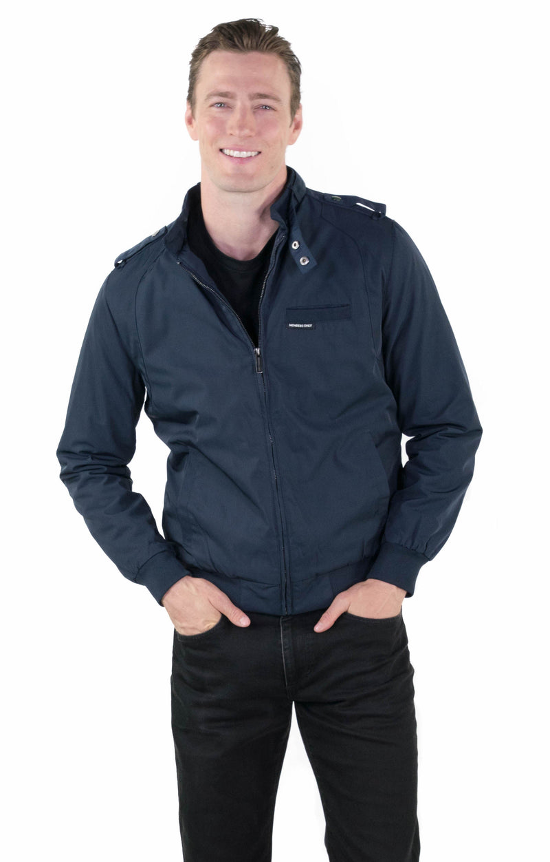 Men's Classic Iconic Racer Jacket (Slim Fit) Unisex Members Only Navy Small