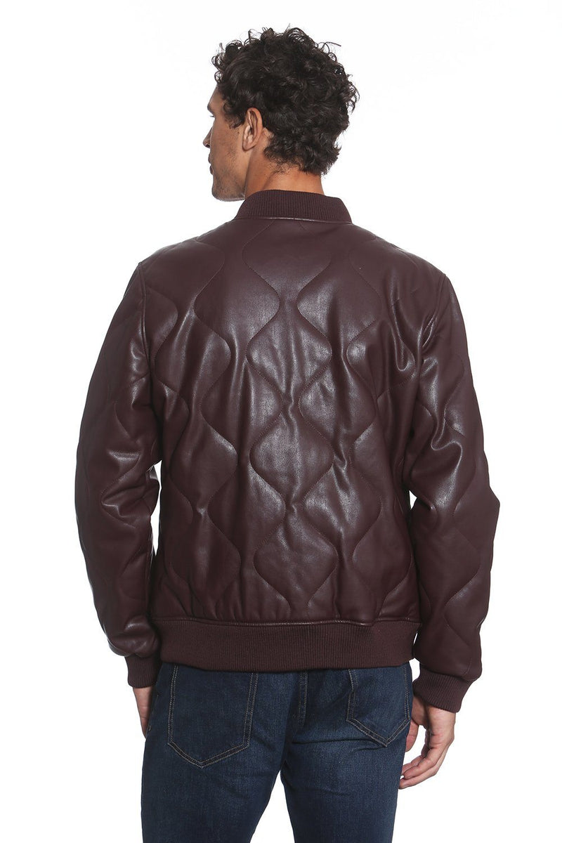 Men's Faux Leather Oval Quilted Bomber Jacket Back