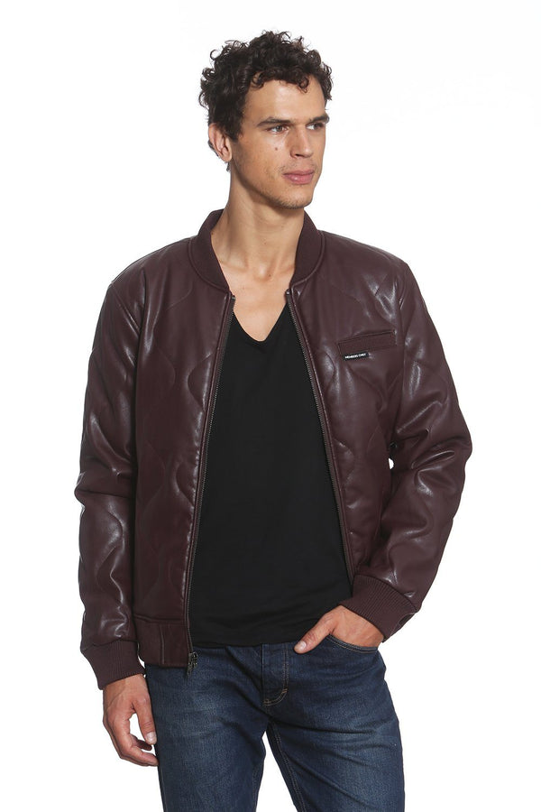 Men's Faux Leather Oval Quilted Bomber Jacket - Members Only