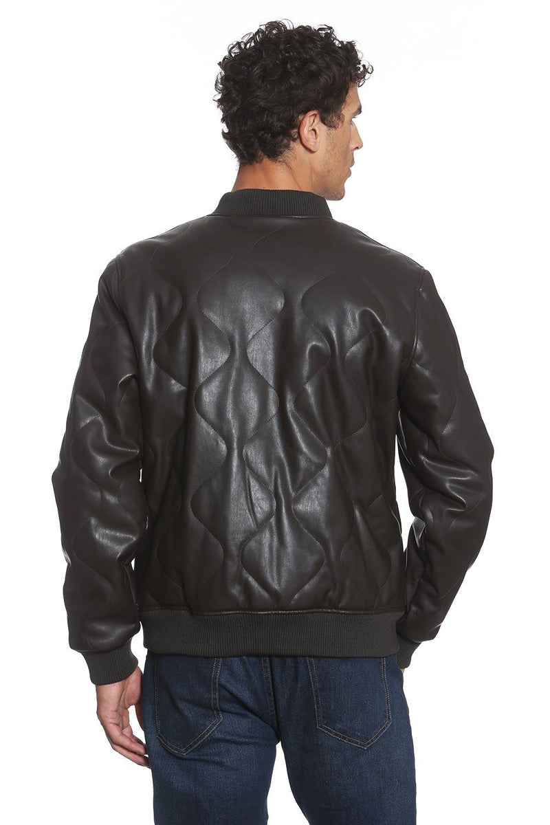 Men Faux Leather Oval Quilted Bomber Jacket Back - Members Only Official