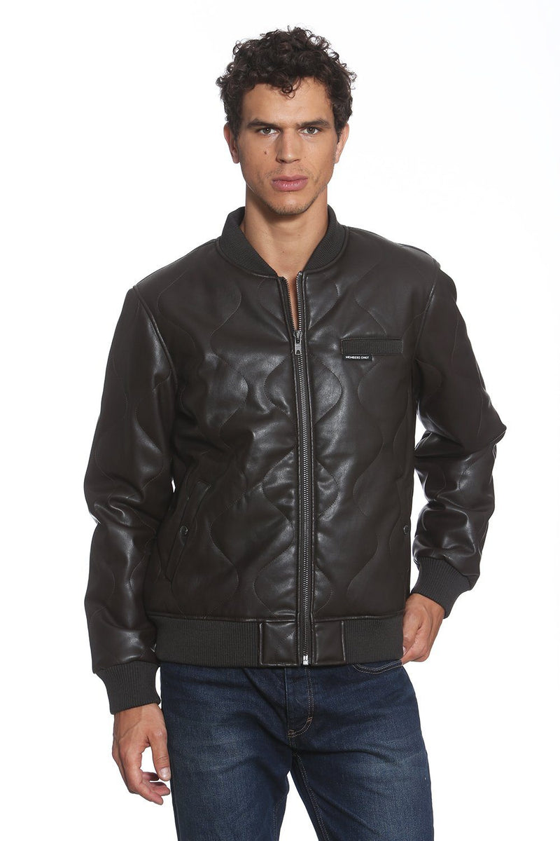 Faux Leather Oval Quilted Bomber Jacket  for Men