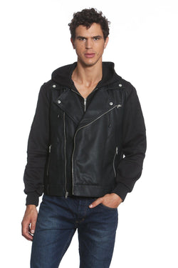 Men's Fleece Sleeve Sport Biker Jacket - Members Only Official