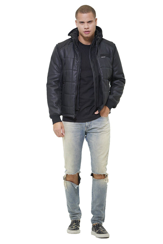 Men's Grid Quilted Bomber Jacket