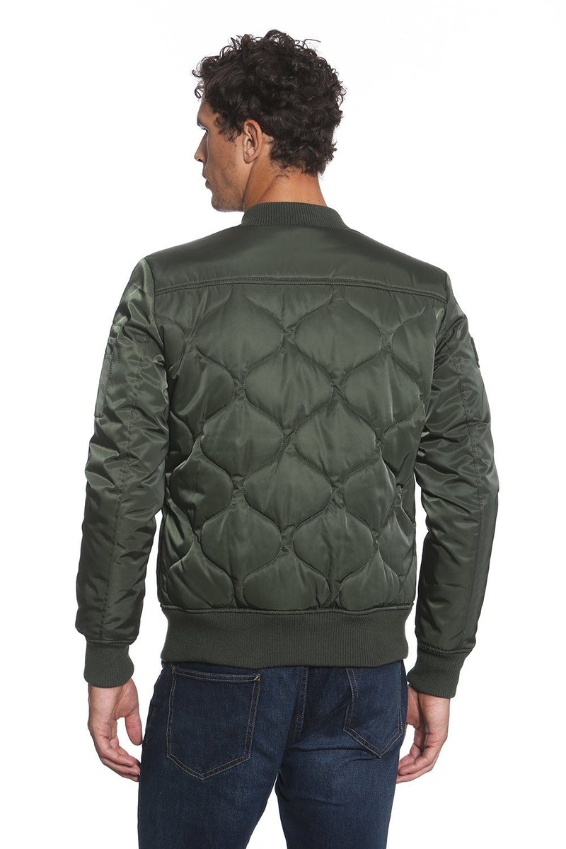 Members Only Men Oval Quilt Bomber Jacket