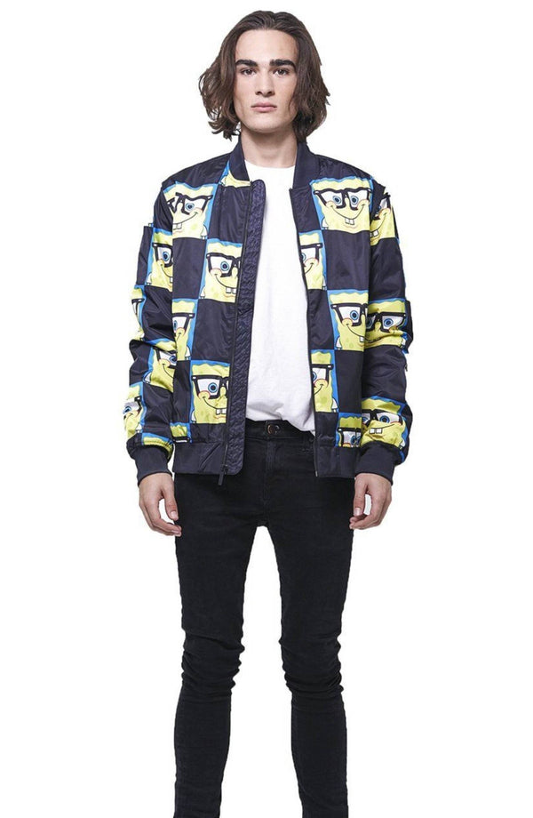 Men's Nickelodeon Spongebob Bomber Jacket Unisex Members Only Official Black X-Small