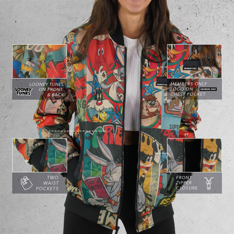Men's Looney Tunes Vintage Mash Print Jacket for Women - Members Only