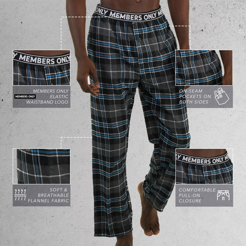 Men's Flannel Sleep Pants Logo Elastic - TEAL Sleepwear Pants Members Only