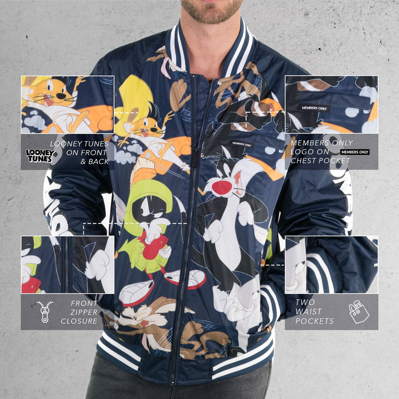 Members Only Men's Looney Tunes Mash Print Bomber Jacket