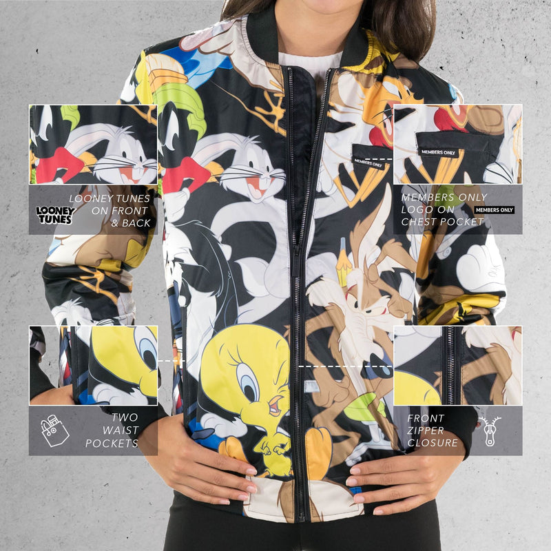 Men  Looney Tunes Mash Print Bomber Jacket for Women