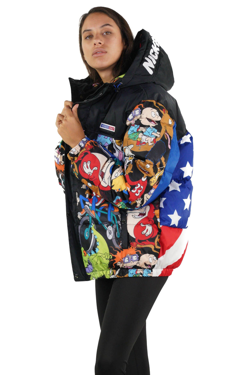 Men's Nickelodeon Flag Print Puffer Jacket for Women - Members Only