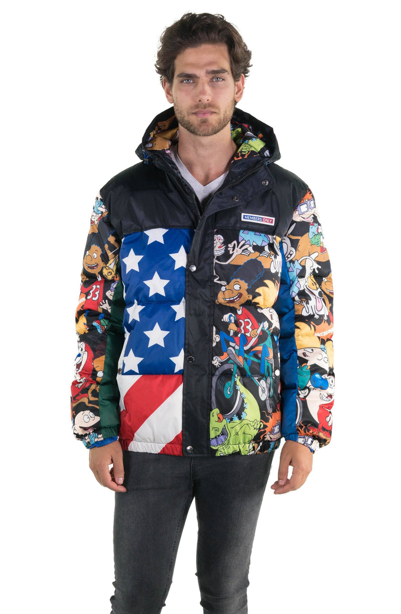Men's Nickelodeon Flag Print Puffer Jacket Unisex Members Only Official BLACK Small