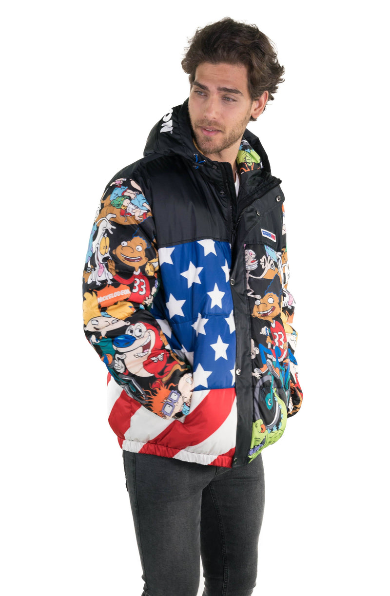 Men's Nickelodeon Flag Print Puffer Jacket
