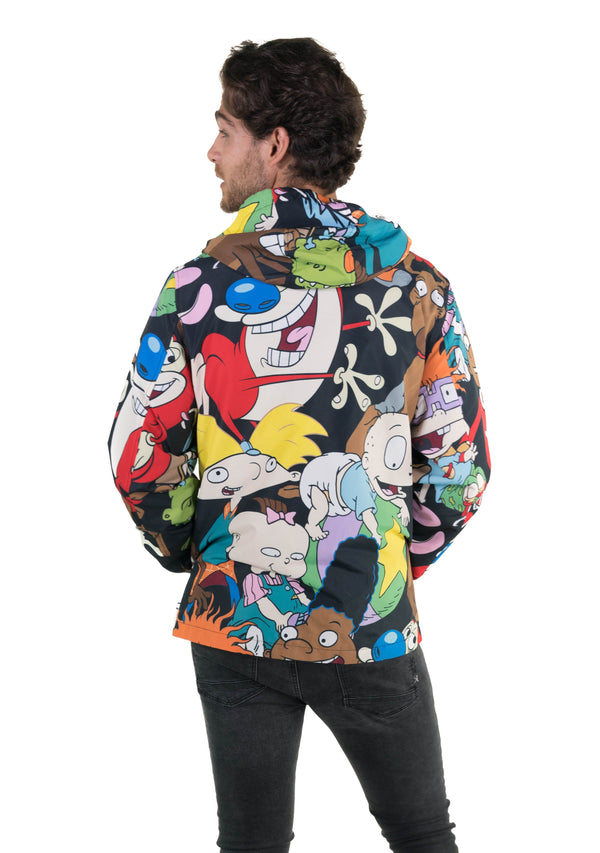 Men Nickelodeon Mash Print Windbreaker Jacket