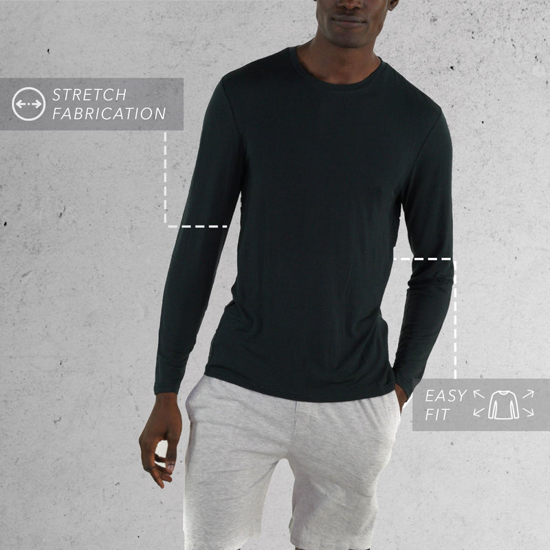 Rayon Long Sleeve Knit black Sleep Shirt for men
