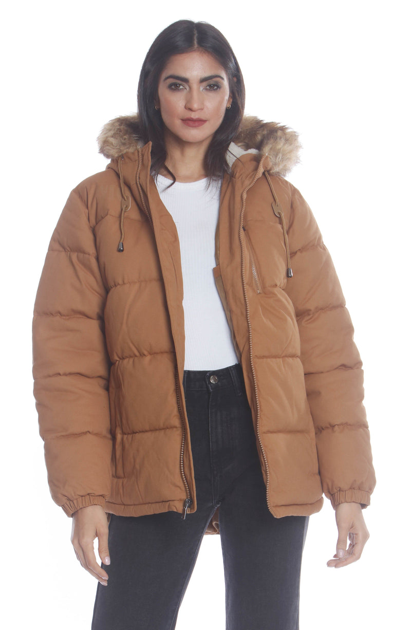 Men's Cotton Puffer Jacket For Women Unisex Members Only Official WHEAT Small