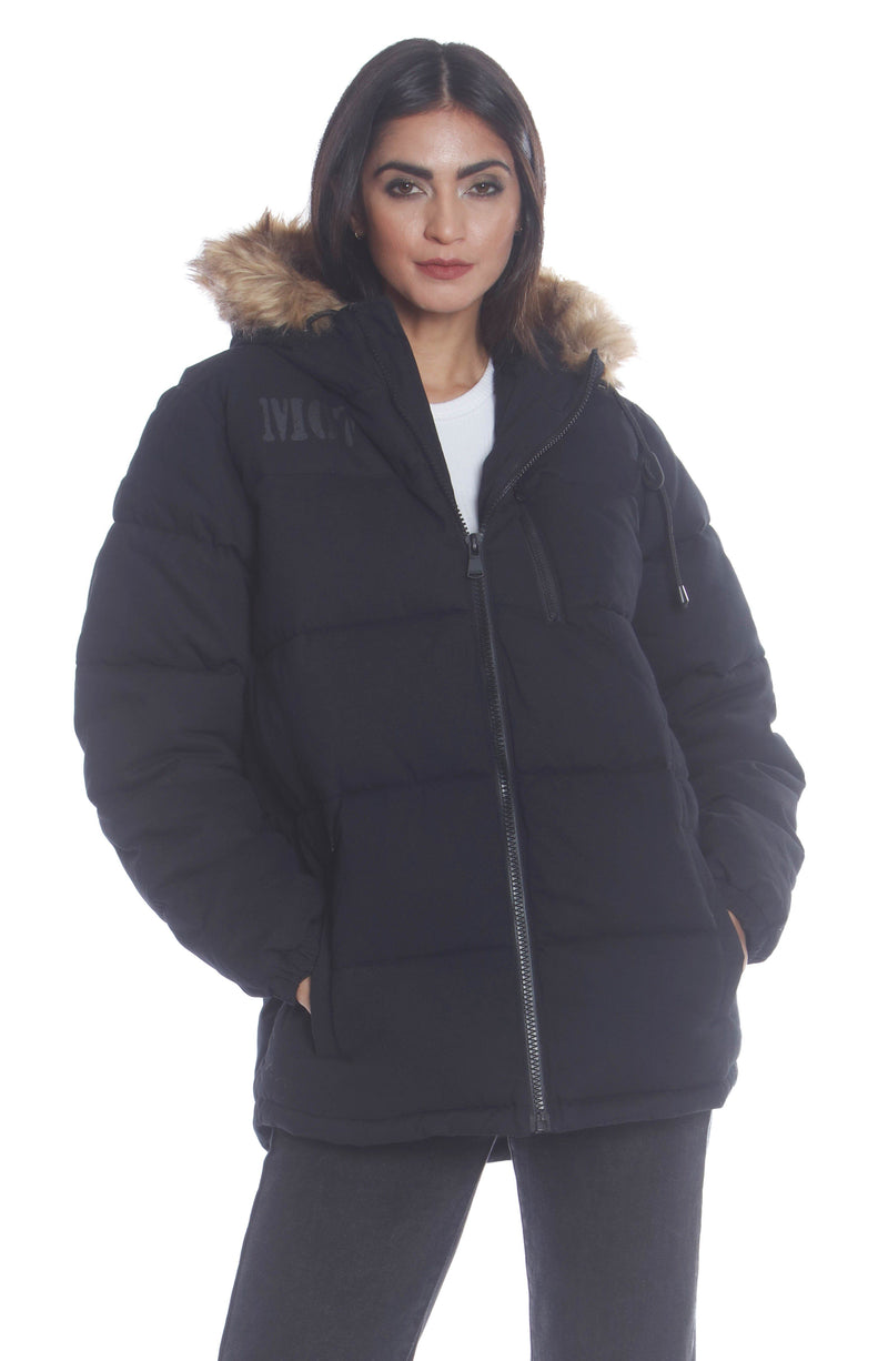 Men's Cotton Puffer Jacket For Women Unisex Members Only Official BLACK Small
