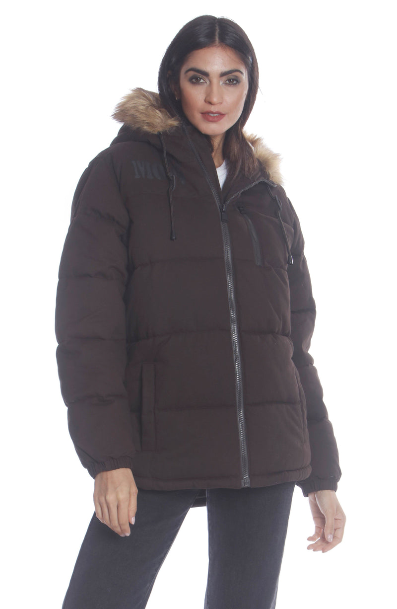 Men's Cotton Puffer Jacket For Women Unisex Members Only Official DARK BROWN Small