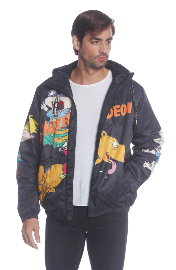 Men's Nickelodeon Rugrats Placement Jacket Unisex Members Only Official BLACK Small