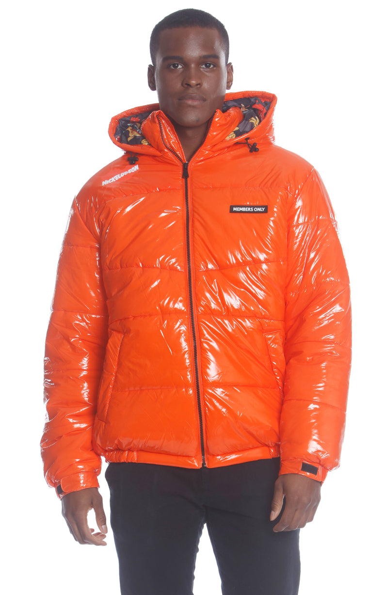 Men's Nickelodeon Shiny Collab Puffer Jacket Unisex Members Only Official ORANGE Small