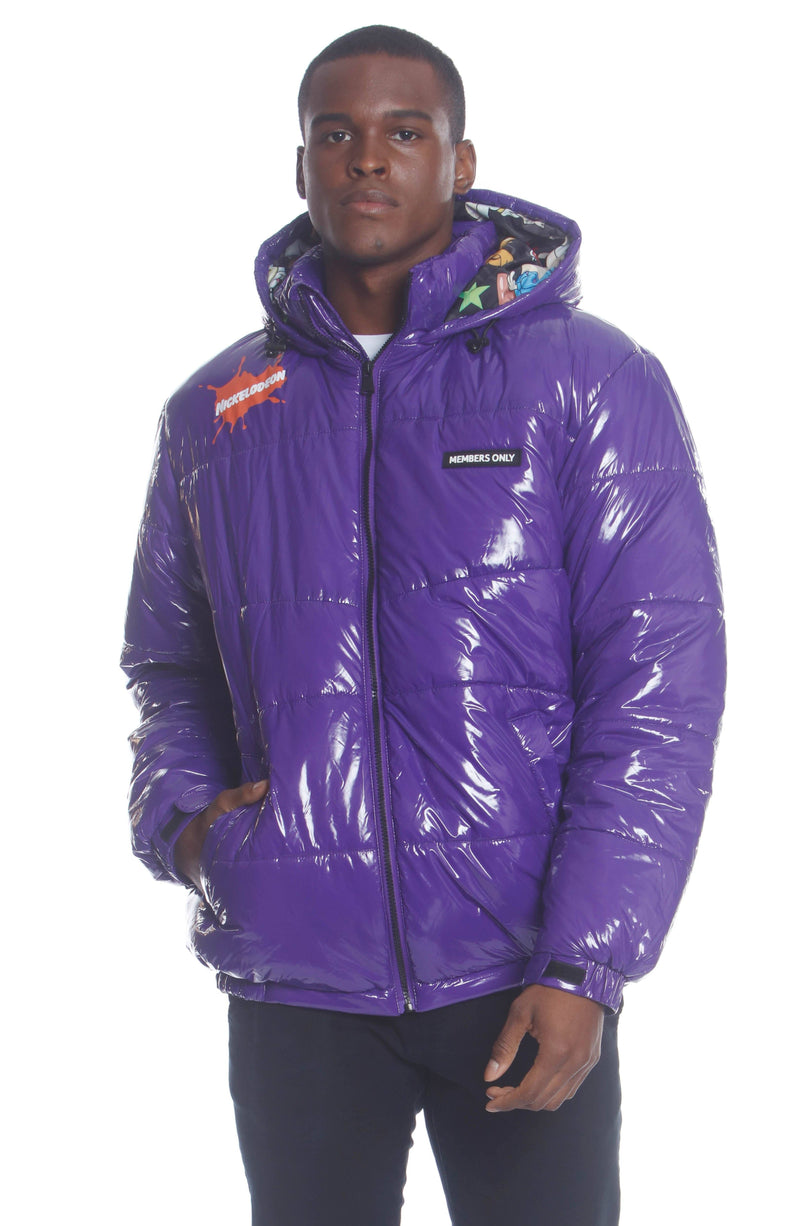 Men's Nickelodeon Shiny Collab Puffer Jacket Unisex Members Only Official PURPLE Small