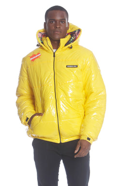 Men's Nickelodeon Shiny Collab Puffer Jacket Unisex Members Only Official YELLOW Small