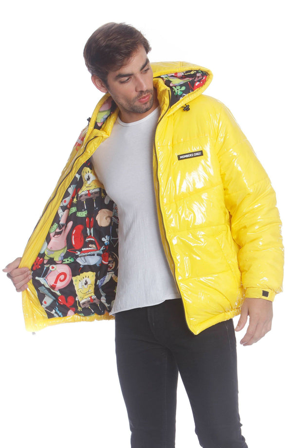 Men's Nickelodeon Shiny Collab Puffer Jacket Unisex Members Only Official
