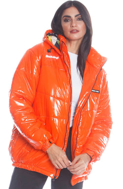 Men's Nickelodeon Shiny Collab Puffer Jacket For Women Unisex Members Only Official ORANGE Small