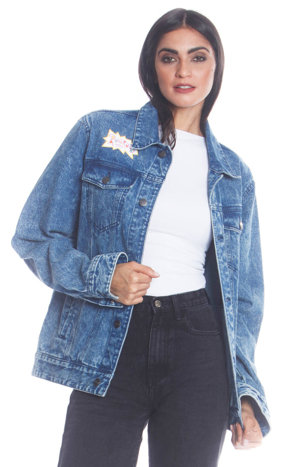 Men's Chucky Placement Denim Jacket For Women Unisex Members Only Official INDIGO Small