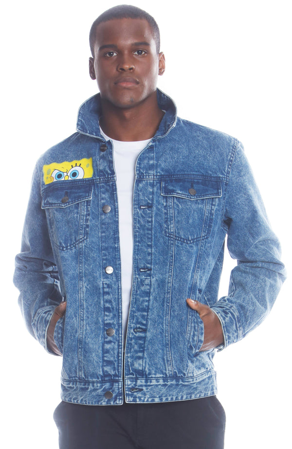 Men's Spongebob Nickelodeon Denim Jacket Unisex Members Only Official
