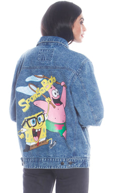 Men's Spongebob Denim Jacket For Women Unisex Members Only Official INDIGO Small