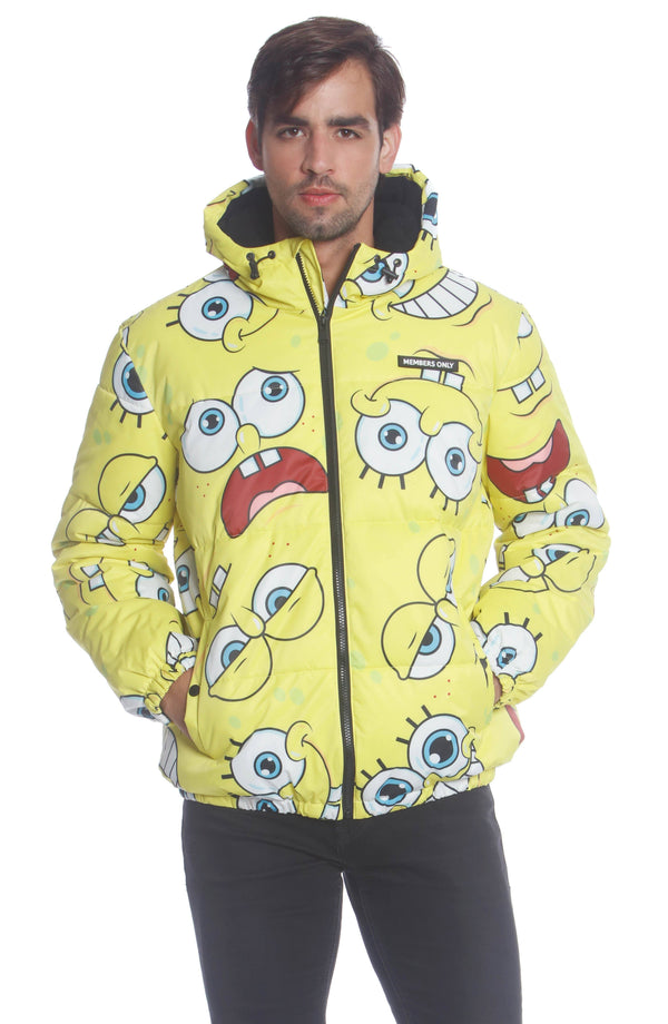 Men's Spongebob Puffer Jacket Unisex Members Only Official YELLOW Small