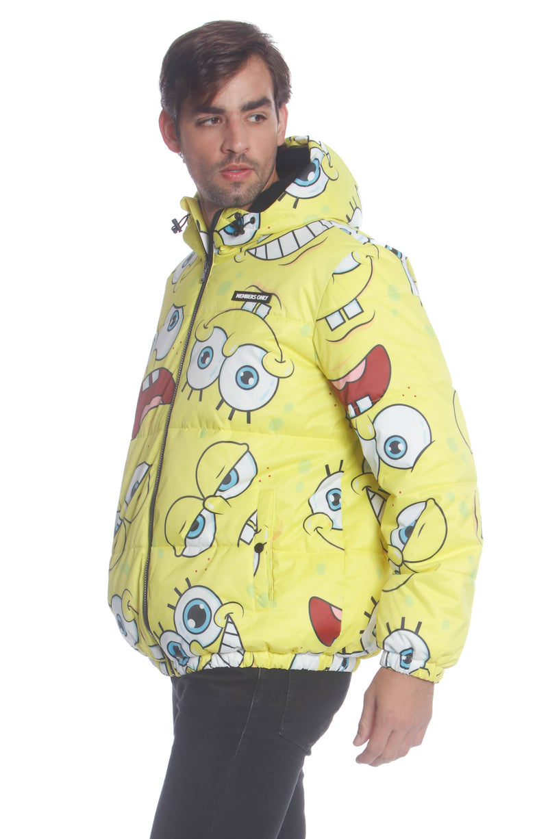 Men's Spongebob Puffer Jacket Unisex Members Only Official