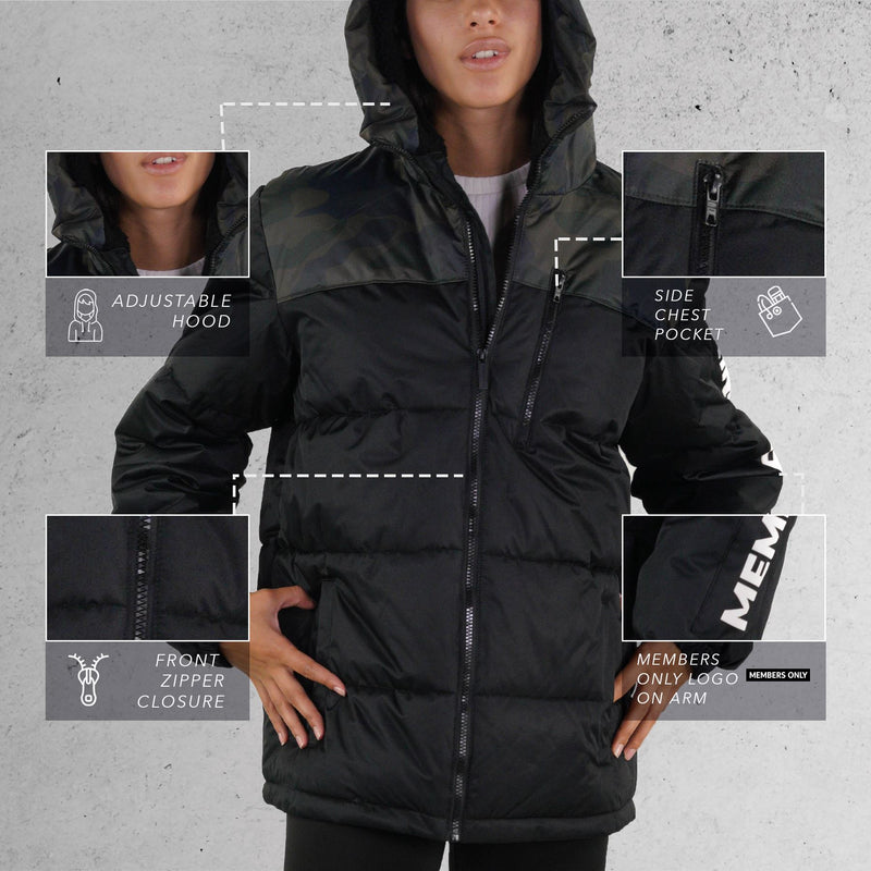 Members Only Puffer Jacket for Women Black