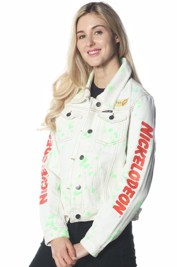 Women's White Denim Nickelodeon Trucker With Pai Jacket jacket Members Only Official