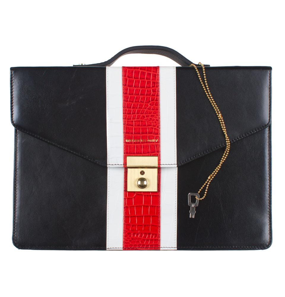 Black Red Gator Genuine Leather iPad Briefcase