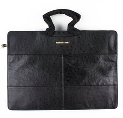 black ostrich leather tablet laptop briefcase