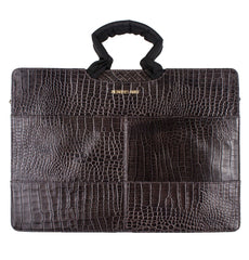 grey gator leather tablet laptop briefcase