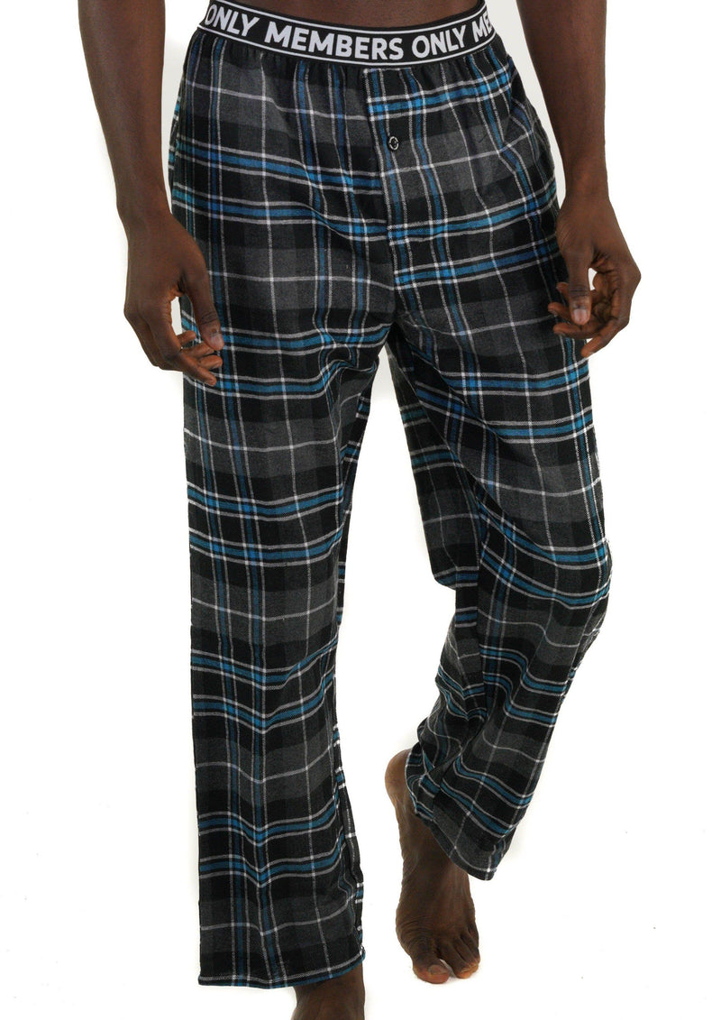 Men's Flannel Sleep Pants Logo Elastic - TEAL Sleepwear Pants Members Only TEAL SMALL