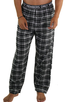 Men's Flannel Sleep Pants Logo Elastic - GREY Sleepwear Pants Members Only GREY SMALL