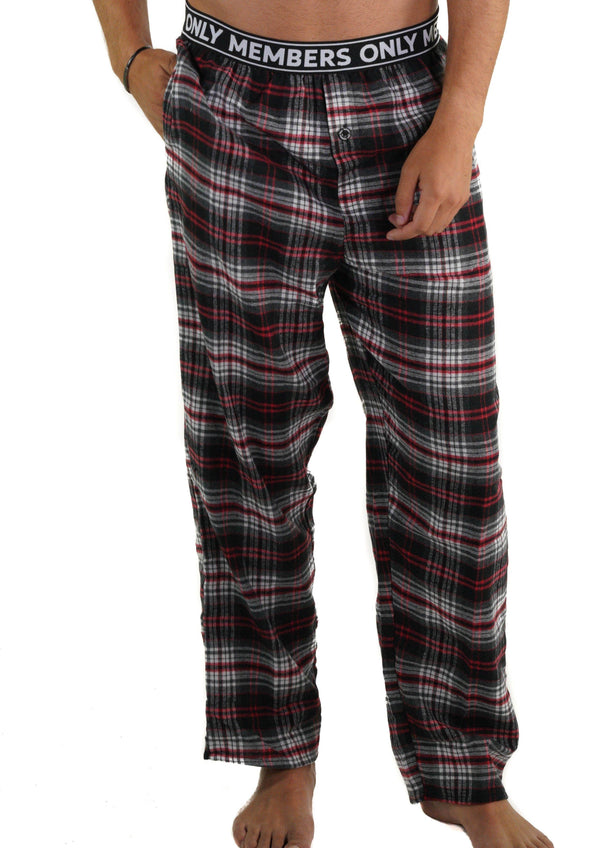 Men's Flannel Sleep Pants Logo Elastic - RED Sleepwear Pants Members Only RED SMALL