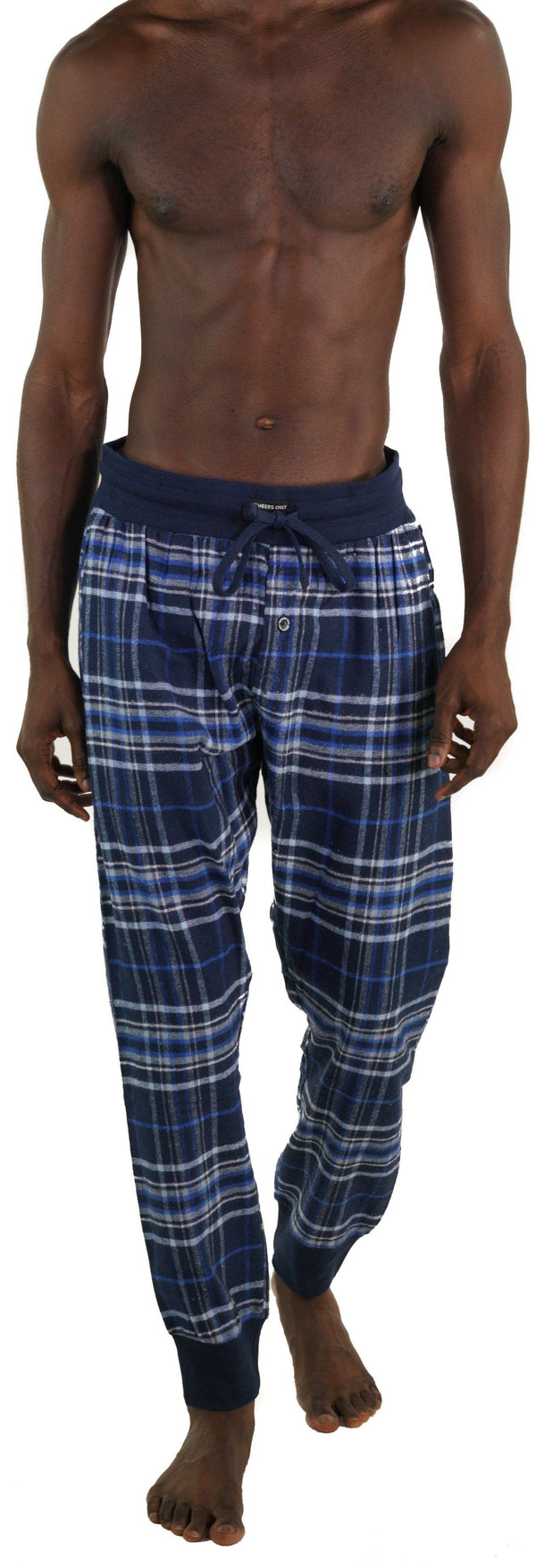 Men's Flannel Jogger Lounge Pants - GREY/BLUE Sleepwear Pants Members Only GREY/BLUE SMALL